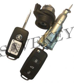 Оригинальный новый комплект замков (зажигания и водительской двери) с двумя выкидными ключами Skoda для моделей RAPID, OCTAVIA, SUPERB, YETI, ROOMSTER, FABIA C 2013 ГОДА. 202L