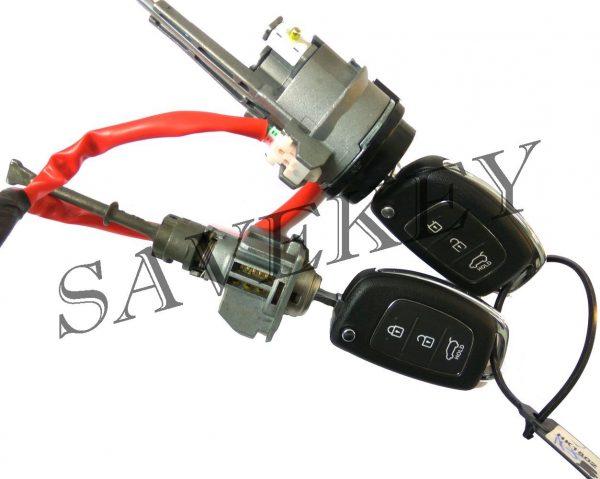 Оригинальный новый комплект замков (зажигания и водительской двери) с двумя выкидными ключами для HYUNDAI IX 35 c 07.2013 по 06.2015 г.г.