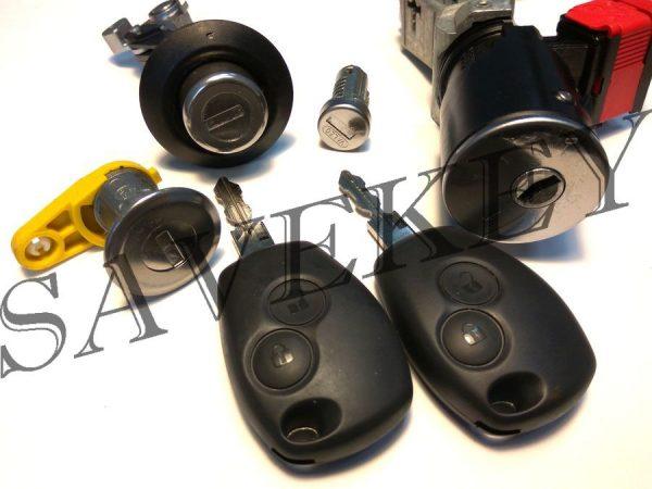 Комплект замков с двумя ключами с кнопакми renault для моделей logan 2, sandero 2