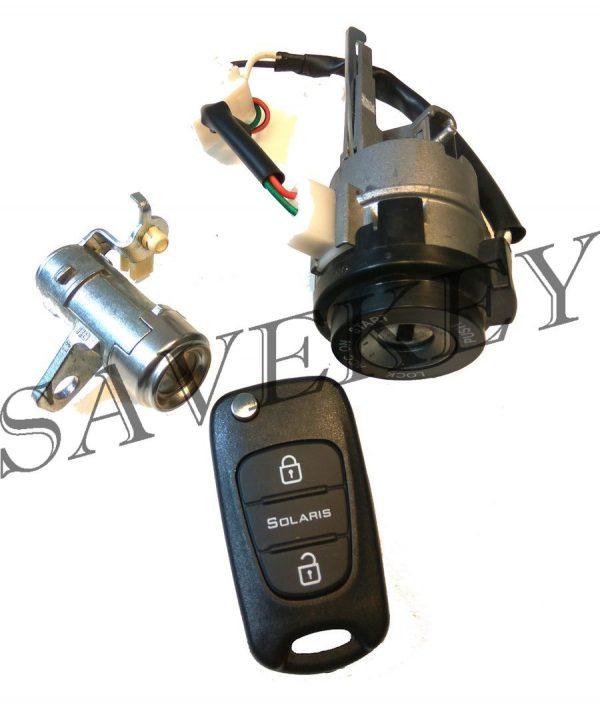 Оригинальный новый комплект замков (зажигания и водительской двери) с выкидным ключем для hyundai solaris c 2011 г.в.