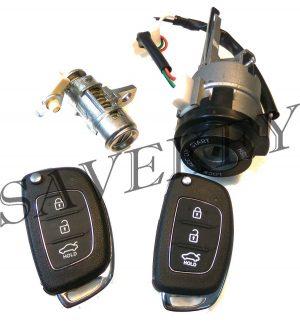 Оригинальный новый комплект замков (зажигания и водительской двери) с двумя выкидными ключами для hyundai solaris c 2013 г.в.